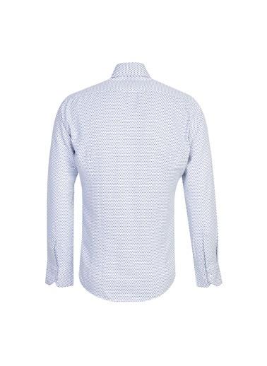 Kiğılı Uzun Kol Slim Fit Desenli Gömlek Beyaz